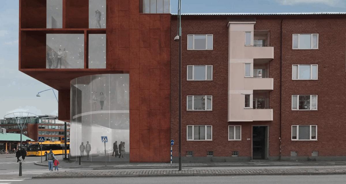 Mångsidig byggnad ger liv och rörelse åt klassisk knutpunkt