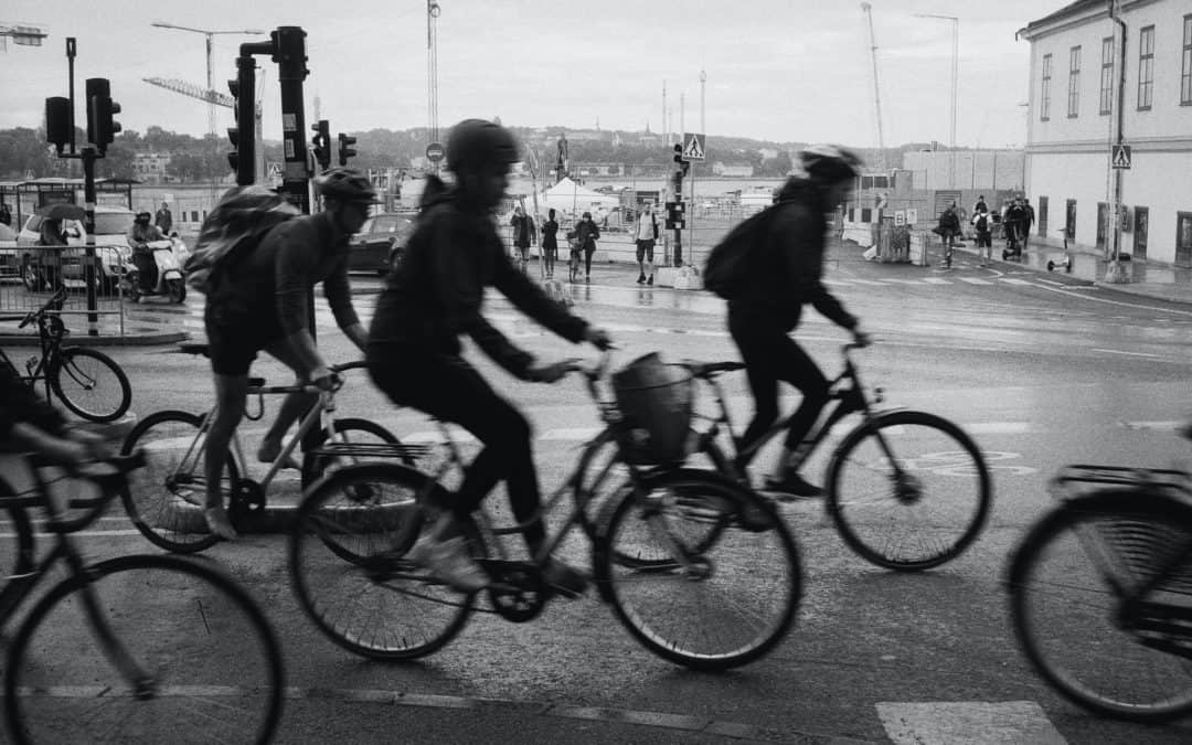 Cyclists at rush hour